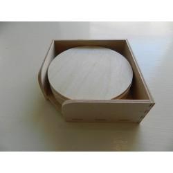 Drevené podložky pod poháre v stojane kruh