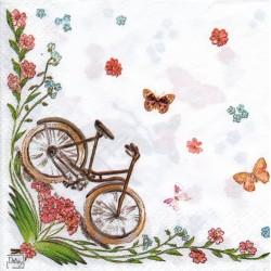 Bycikle, kvietky a motýle